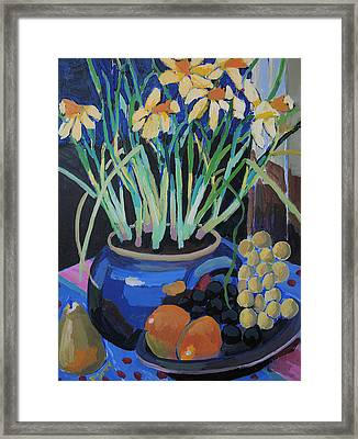 Daffodills And Fruit Framed Print