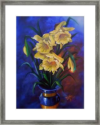 Daffodils In Cobalt Vase Framed Print by Micheal Giddens