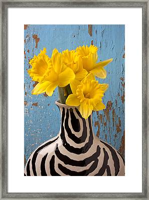 Daffodils In Wide Striped Vase Framed Print by Garry Gay
