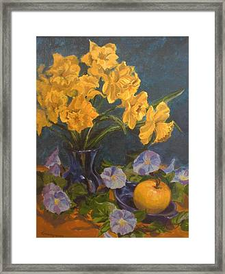 Framed Print featuring the painting Daffodils by Karen Ilari