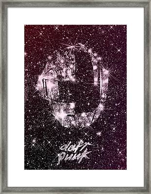 Daft Punk Poster Helmets Print Space Stars Random Access Memories Disco Retro Digital Print Framed Print by Lautstarke Studio