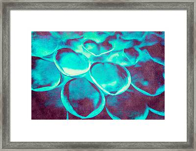 Dahlia Petals In Turquoise. Framed Print