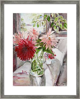 Framed Print featuring the painting Dahlias by Becky Kim