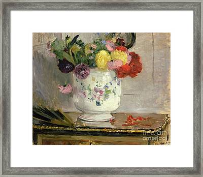 Dahlias Framed Print by Berthe Morisot