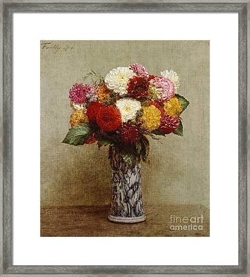 Dahlias In A Chinese Vase Framed Print by Ignace Henri Jean Fantin-Latour