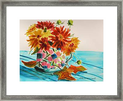 Dahlias In A Painted Cup Framed Print by John Williams