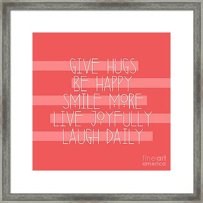 Daily Guide In Coral Framed Print by Liesl Marelli