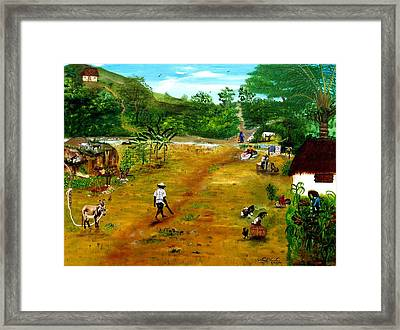 Framed Print featuring the painting Daily Occurrence by Nicole Jean-Louis