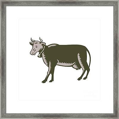 Dairy Cow Side View Woodcut Framed Print by Aloysius Patrimonio