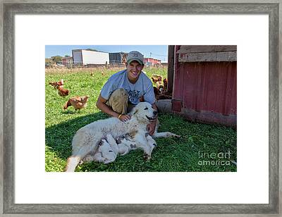 Dairy Farmer With Great Pyrenees Framed Print by Inga Spence