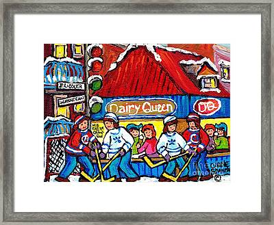 Dairy Queen Lasalle Ice Cream Parlor Winter Hockey Scene Montreal Canadian Artist Carole Spandau     Framed Print