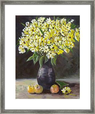 Daisies And Apples  Framed Print