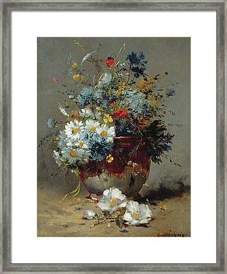Daisies And Cornflowers Framed Print by Eugene Henri Cauchois