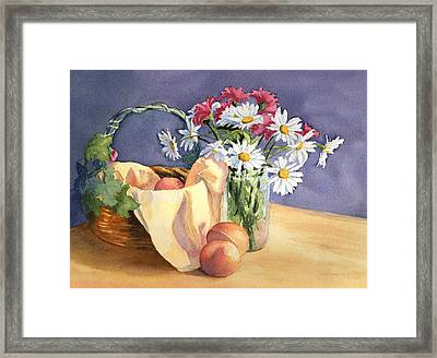 Daisies And Peaches Framed Print by Vikki Bouffard