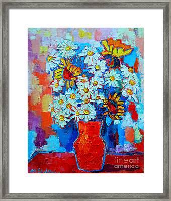 Daisies And Sunflowers Framed Print by Ana Maria Edulescu
