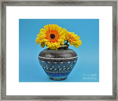 Daisies Displayed In Navajo Native American Vase Framed Print by Ray Shrewsberry