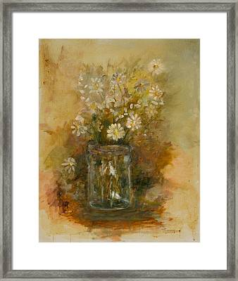 Daisies In A Jar Framed Print by Betty Stevens