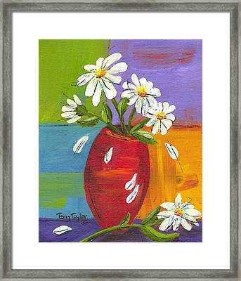 Daisies In A Red Vase Framed Print