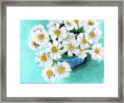 Daisies In Blue Bowl Framed Print
