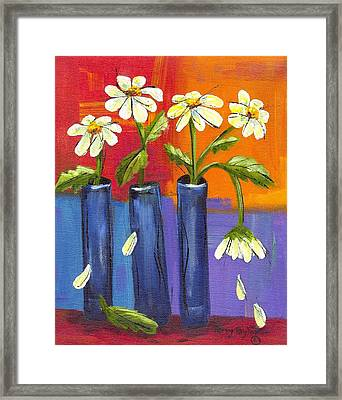 Daisies In Blue Vases Framed Print