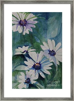 Daisies In The Blue Framed Print by Gretchen Bjornson