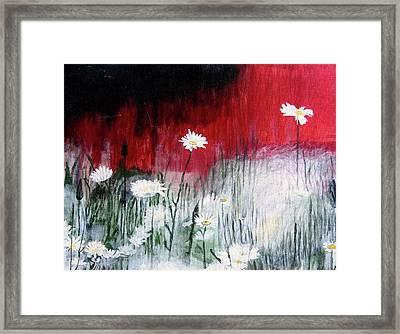 Framed Print featuring the painting Daisies by Mary Ellen Frazee