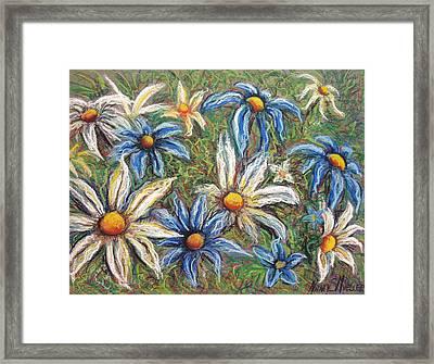 Daisies Pastel Framed Print by Nancy Mueller