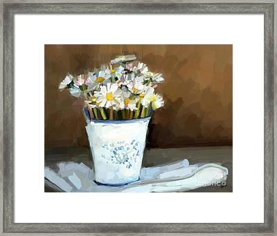 Daisies Study Framed Print by Carrie Joy Byrnes