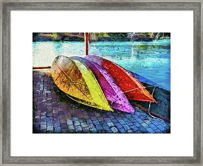 Framed Print featuring the photograph Daisy And The Rowboats by Thom Zehrfeld