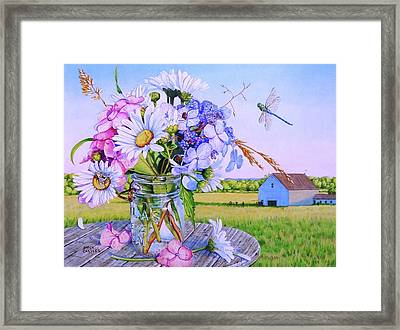 Daisy Bouquet, Maine Farm Landscape, Flowers, Barn, Dragonfly, Hydrangea Flowers, Mason Jar, Bee Framed Print
