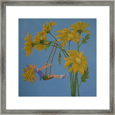 Framed Print featuring the painting Daisy Days by Karen Ilari