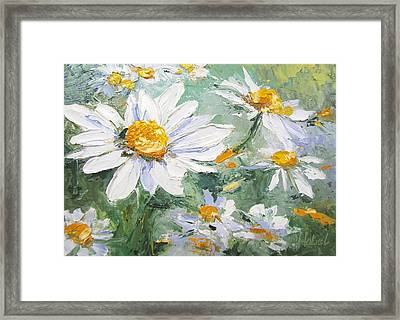 Daisy Delight Palette Knife Painting Framed Print
