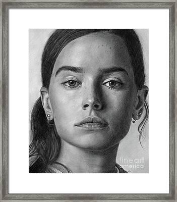 Daisy Ridley Pencil Drawing Portrait Framed Print