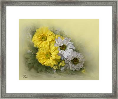 Framed Print featuring the painting Daisy Spring Bouquet by Bonnie Willis