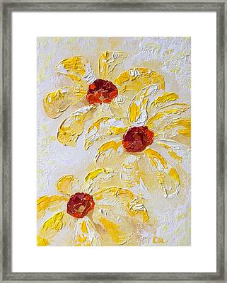 Framed Print featuring the painting Daisy Trio by Chris Rice