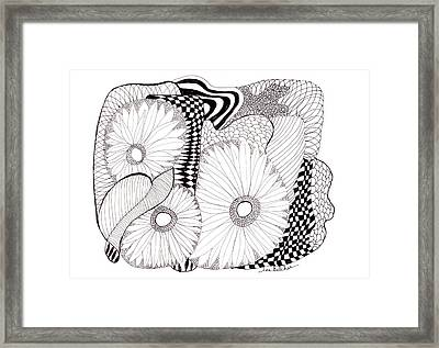 Framed Print featuring the drawing Daisy Zentangle by Lou Belcher
