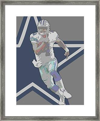 Dak Prescott Dallas Cowboys Contour Art Framed Print
