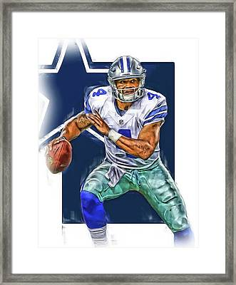 Dak Prescott Dallas Cowboys Oil Art Framed Print