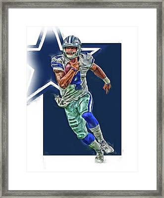Dak Prescott Dallas Cowboys Oil Art Series 1 Framed Print