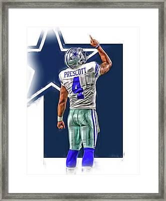 Dak Prescott Dallas Cowboys Oil Art Series 2 Framed Print
