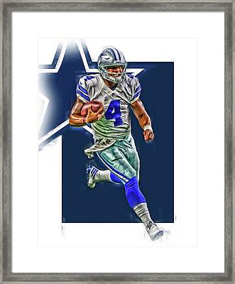 Dak Prescott Dallas Cowboys Oil Art Series 3 Framed Print