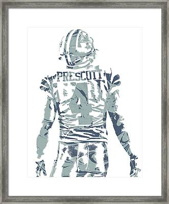 Dak Prescott Dallas Cowboys Pixel Art 12 Framed Print