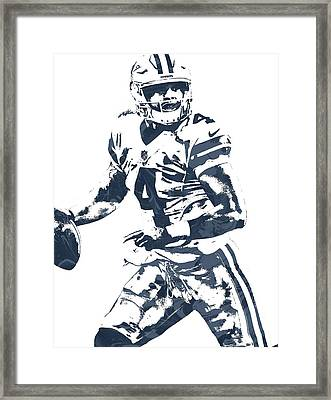 Dak Prescott Dallas Cowboys Pixel Art 3 Framed Print