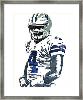 Dak Prescott Dallas Cowboys Pixel Art 4 Framed Print