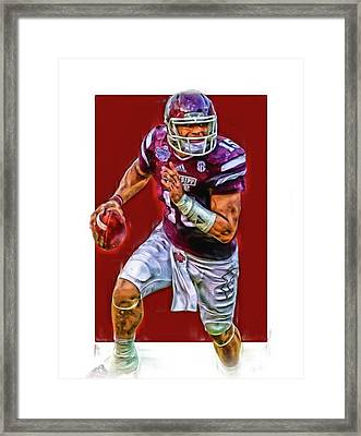 Dak Prescott Mississipi State Oil Art Series 1 Framed Print