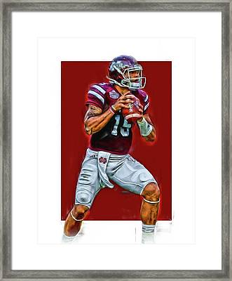 Dak Prescott Mississipi State Oil Art Series 2 Framed Print