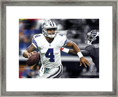 Dak Prescott, Number 4, Quarterback, Dallas Cowboys Framed Print by Thomas Pollart