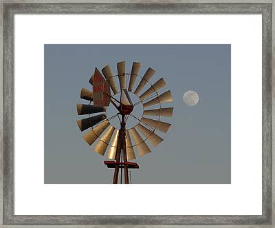 Dakota Windmill And Moon Framed Print by Keith Stokes