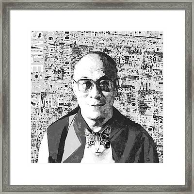 Dalai Lama And Cat Framed Print by Stacey Chiew