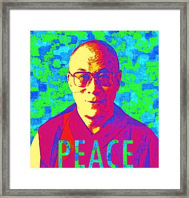 Dalai Lama - Retro Pop Art, Peace Framed Print by Stacey Chiew